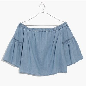 Madewell Chambray Off-the-Shoulder Crop Top